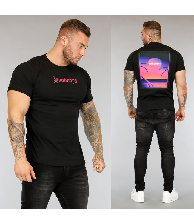 NEW3004 Zwart Hoodboys Heren T-Shirt met Opdruk