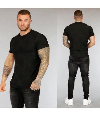 NEW3004 Zwart Heren T-Shirt met Opdruk