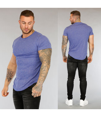 Blauw Gemêleerd Heren T-Shirt
