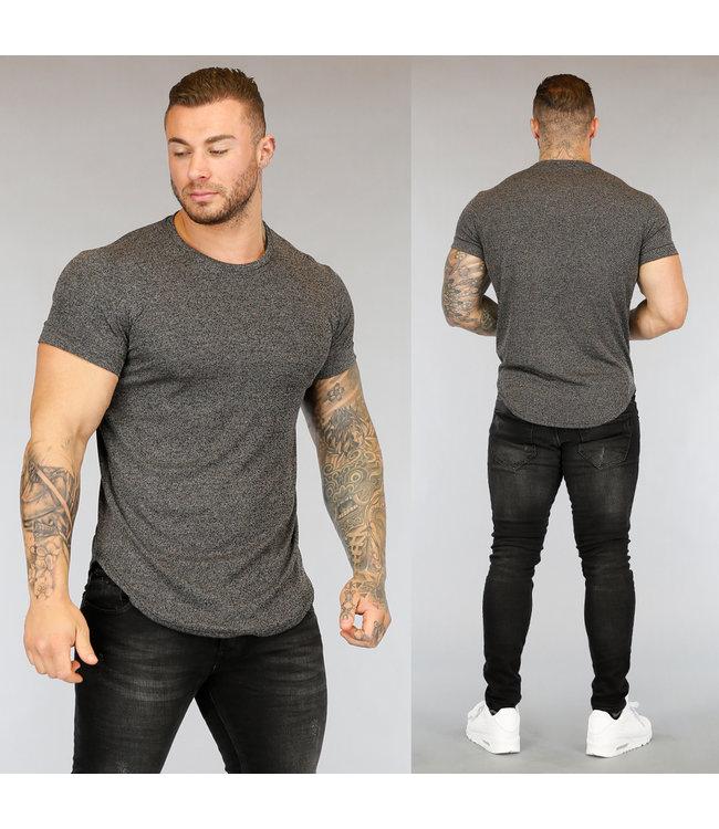 NEW3004 Grijs Gemêleerd Heren T-Shirt