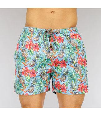 !OP=OP Korte Lichtblauwe Heren Zwembroek met Tropical Print