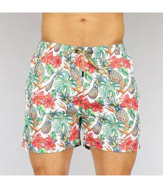 NEW0705 Korte Witte Heren Zwembroek met Tropical Print