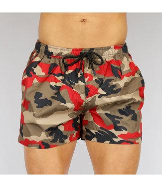 !SALE40 Korte Rode Camouflage Heren Zwembroek
