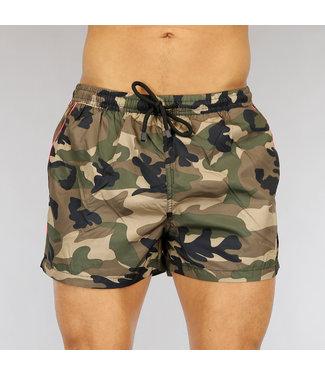 NEW0705 Korte Groene Camouflage Heren Zwembroek