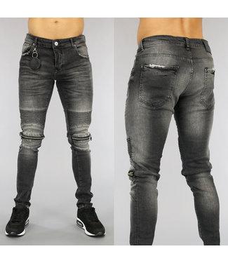 NEW0705 Grijze Heren Jeans met Ribbels en Ritsen