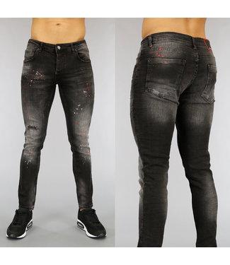 !OP=OP Grijze Damaged Heren Jeans met Rode Verfspatten