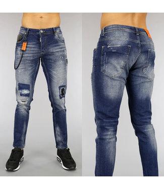 NEW0705 Blauwe Old Look Heren Jeans met Verfspatten