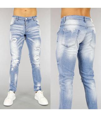 NEW0705 Lichtblauwe Heren Jeans met Wassing en Scheuren