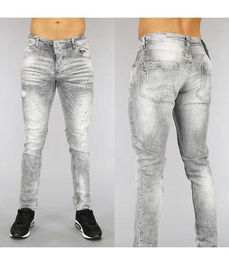 Lichtgrijze Heren Jeans met Scheuren en Verfspatten