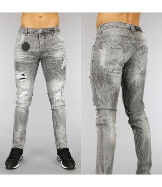 NEW0705 Grijze Heren Jeans met Scheuren en Zwarte Verfspatten