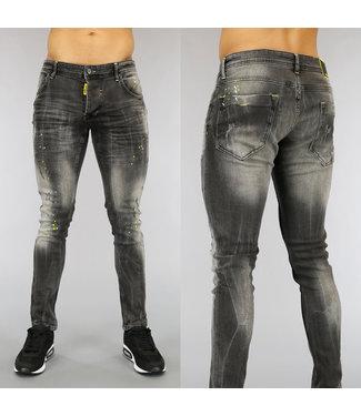 !OP=OP Grijze Damaged Heren Jeans met Neon Verfspatten
