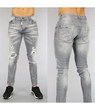 NEW0705 Grijze Heren Jeans met Scheuren en Blauwe Verfspatten