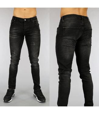 NEW0705 Zwarte Heren Jeans met Krassen en Wassing