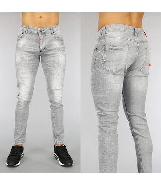 NEW0705 Grijze Heren Jeans met Oranje Details en Verfspatten