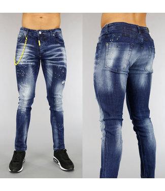NEW0705 Donkerblauwe Jeans met Krassen en Gele Details