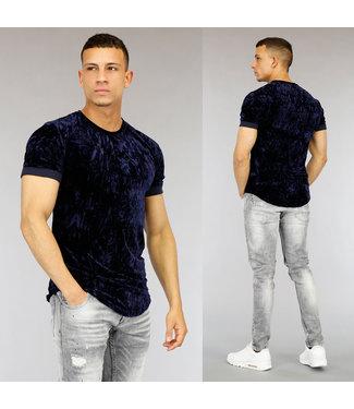 NEW0705 Donkerblauw Velvet Heren T-Shirt