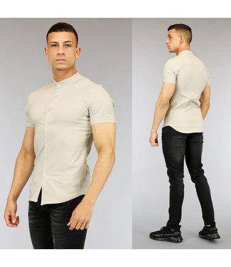 HOT Beige Heren Overhemd met Korte Mouwen