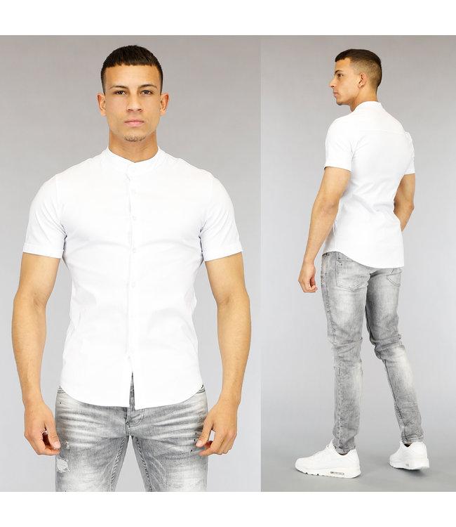 NEW0705 Wit Heren Overhemd met Korte Mouwen
