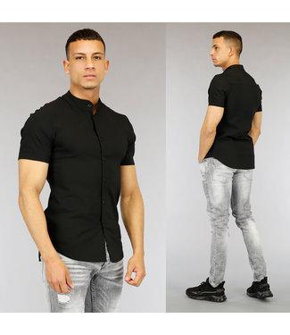 NEW0705 Zwart Heren Overhemd met Korte Mouwen