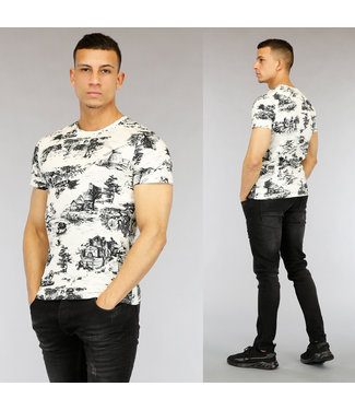 Wit Old Town Print Heren T-Shirt