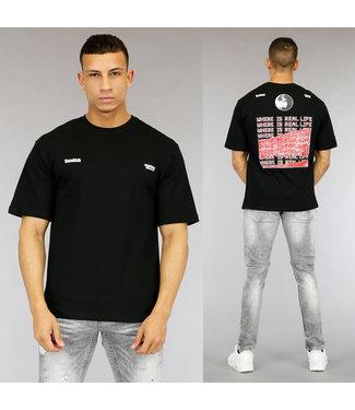 NEW0705 Zwart Real Life Heren T-Shirt met Print
