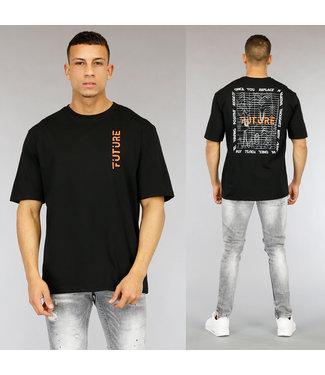 NEW0705 Zwart Future Heren T-Shirt met Print
