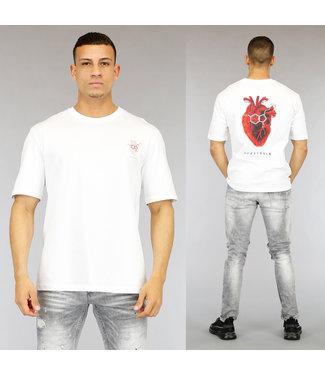 NEW0705 Wit Heart Heren T-Shirt met Print