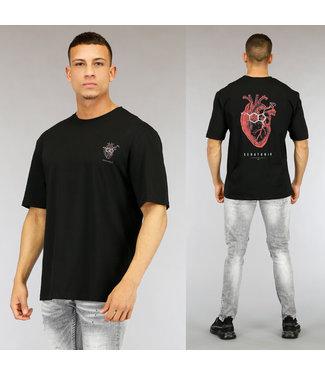 Zwart Heart Heren T-Shirt met Print