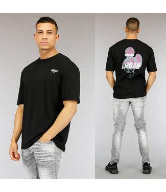 Zwart Urban Heren T-Shirt met Print