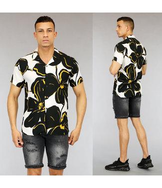 NEW0705 Witte Heren Blouse met Zwarte Bloemen
