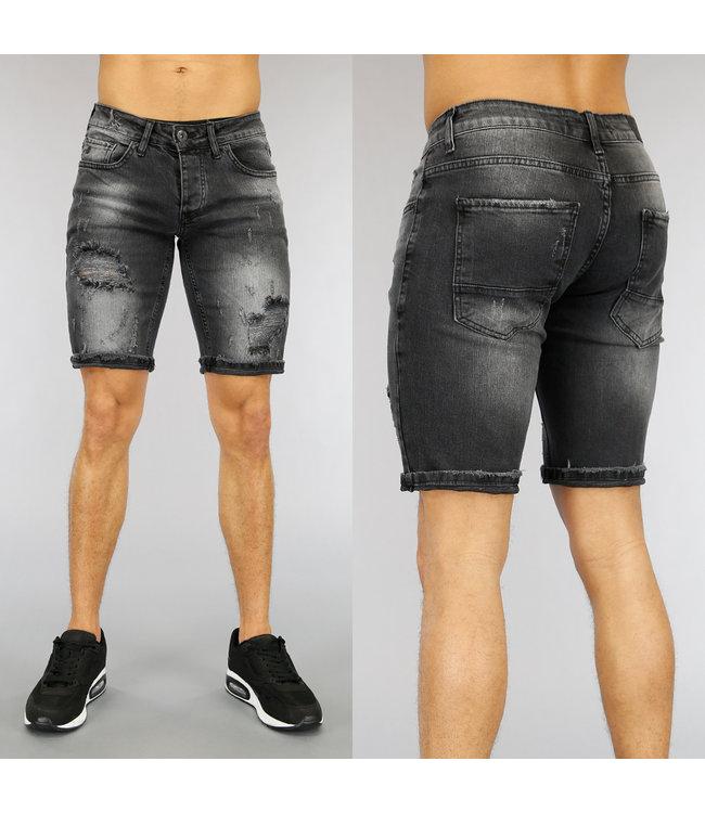 Grijs Heren Jeans Short met Scheuren