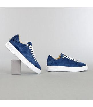 Blauwe Heren Ribstof Sneakers