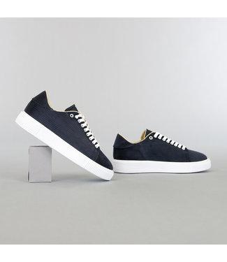 Donkerblauwe Heren Ribstof Sneakers
