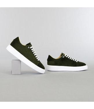 Olijfgroene Heren Ribstof Sneakers