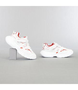 NEW2105 Wit/Rode Grove Heren Sneakers met Dubbele Veter
