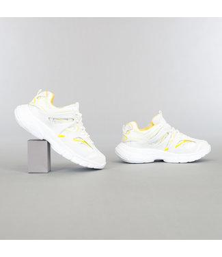 Wit/Gele Grove Heren Sneakers met Dubbele Veter