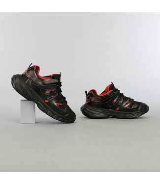 NEW2105 Zwart/Rode Grove Heren Sneakers met Dubbele Veter