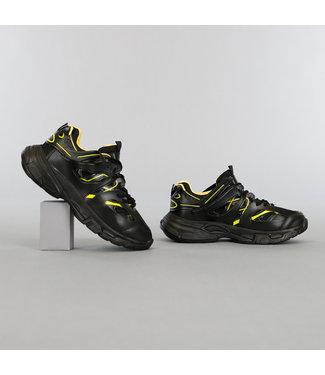 Zwart/Gele Grove Heren Sneakers met Dubbele Veter