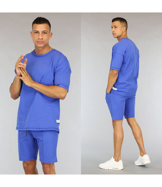 NEW0406 Oversized Blauwe Heren Short Set
