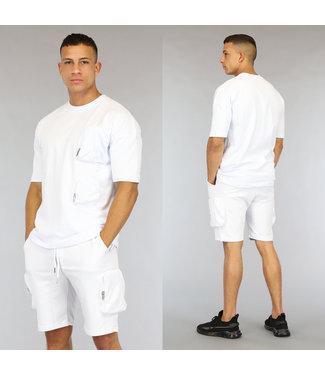 NEW0406 Oversized Witte Heren Short Set met Zakken