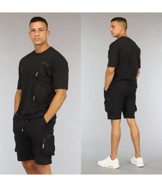 NEW0406 Oversized Zwarte Heren Short Set met Zakken