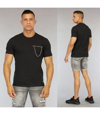 NEW0406 Zwart Heren T-Shirt met Borstzakje