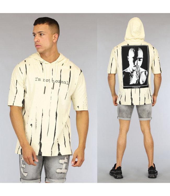 NEW0406 Ecru Heren T-Shirt met Capuchon en Print