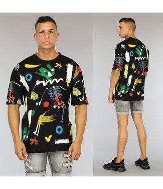 NEW0406 Zwart Oversized Graffiti Heren Skelet Shirt
