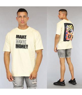 NEW0406 Ecru Make More Money Heren T-Shirt met Print