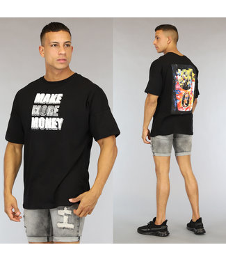 NEW0406 Zwart Make More Money Heren T-Shirt met Print