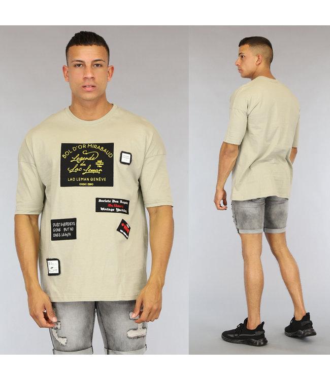 NEW0406 Kaki Oversized Heren Shirt met Emblemen