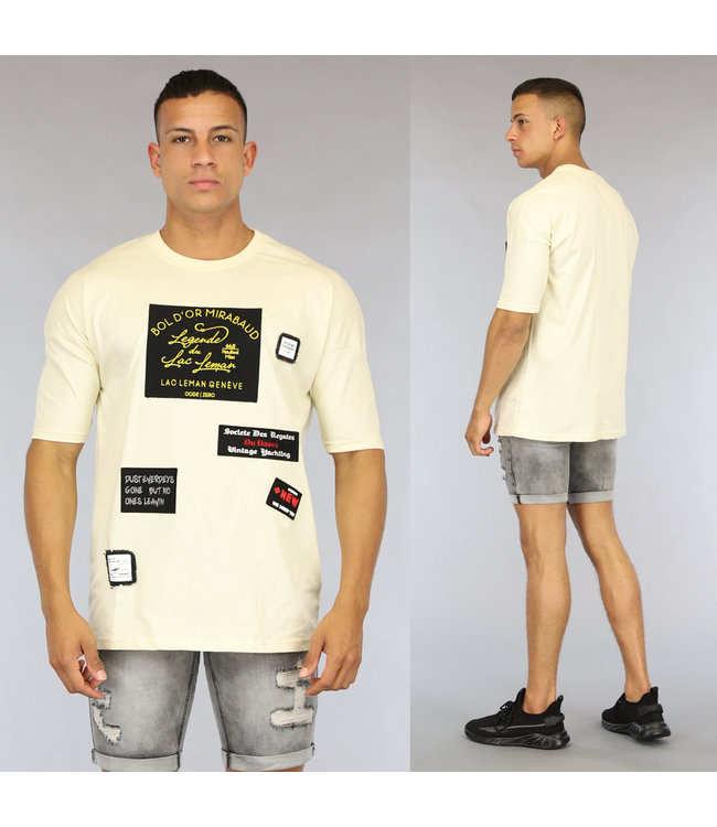 NEW0406 Ecru Oversized Heren Shirt met Emblemen
