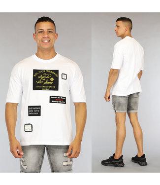 NEW0406 Wit Oversized Heren Shirt met Emblemen