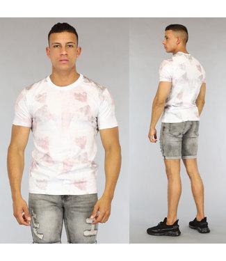 NEW0406 Wit Heren T-Shirt met Wassing